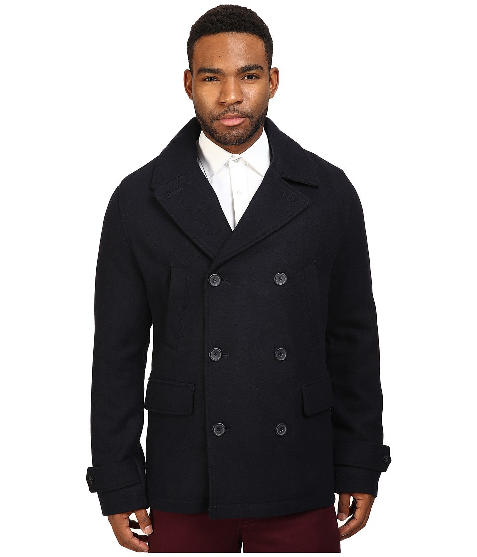 Original Penguin - Double Breasted Peacoat (Dark Sapphire) Men's Coat