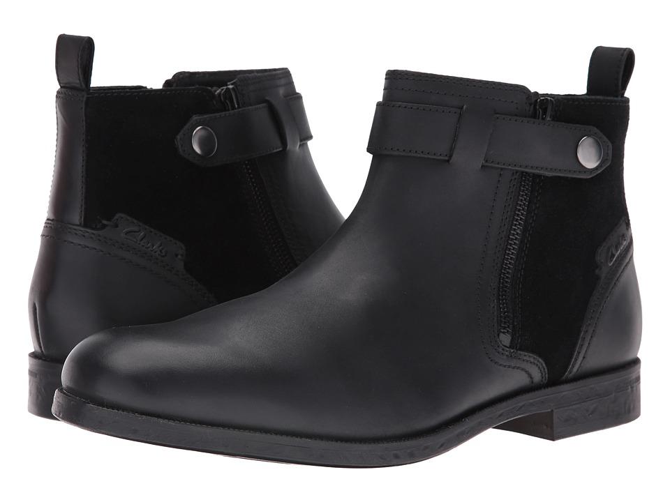 Clarks Brocton Mid Black Leather Mens Shoes