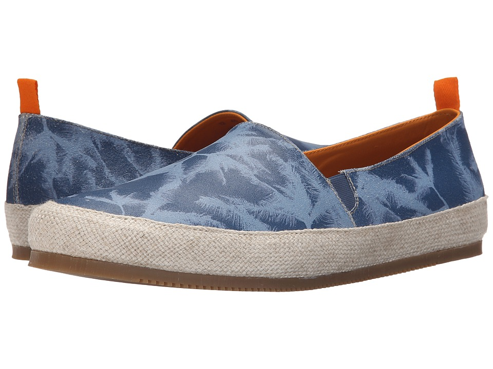 Mulo - Print Suede Espadrille (Blue Palm) Men's Shoes