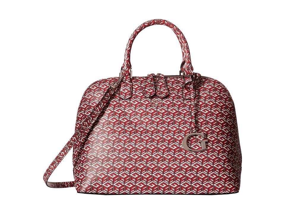 GUESS - G Cube Dome Satchel (Crimson) Satchel Handbags