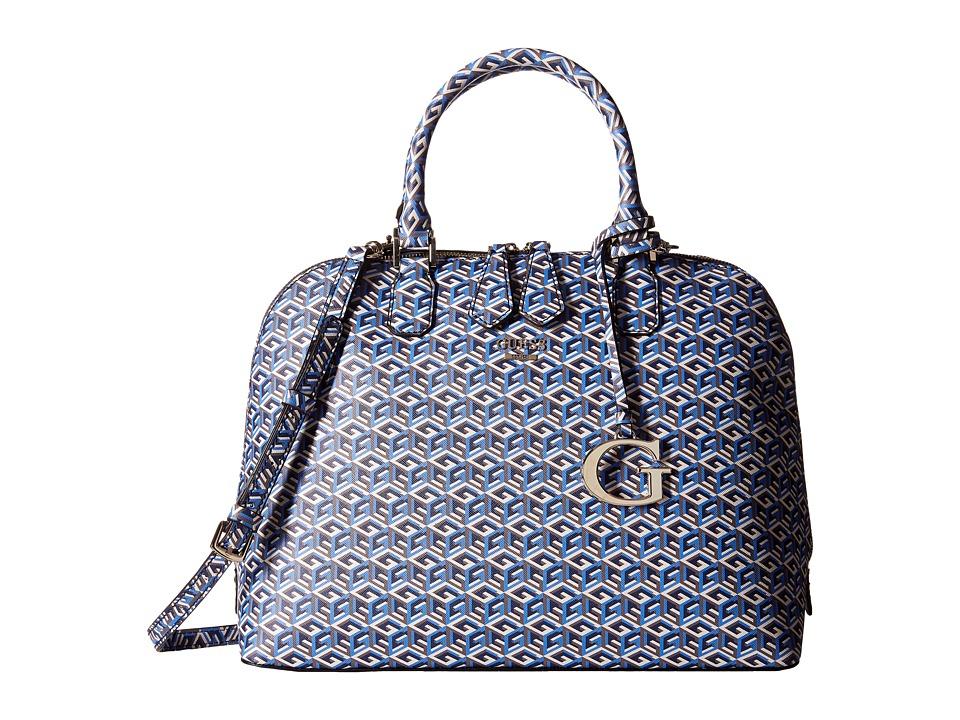 GUESS - G Cube Dome Satchel (Indigo) Satchel Handbags