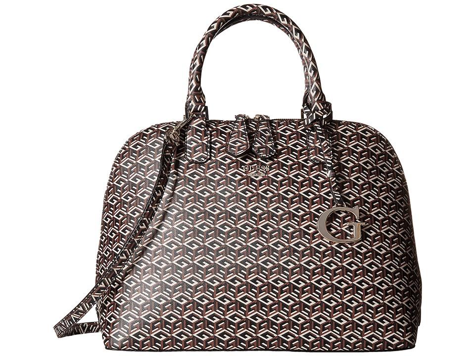 GUESS - G Cube Dome Satchel (Mocha) Satchel Handbags
