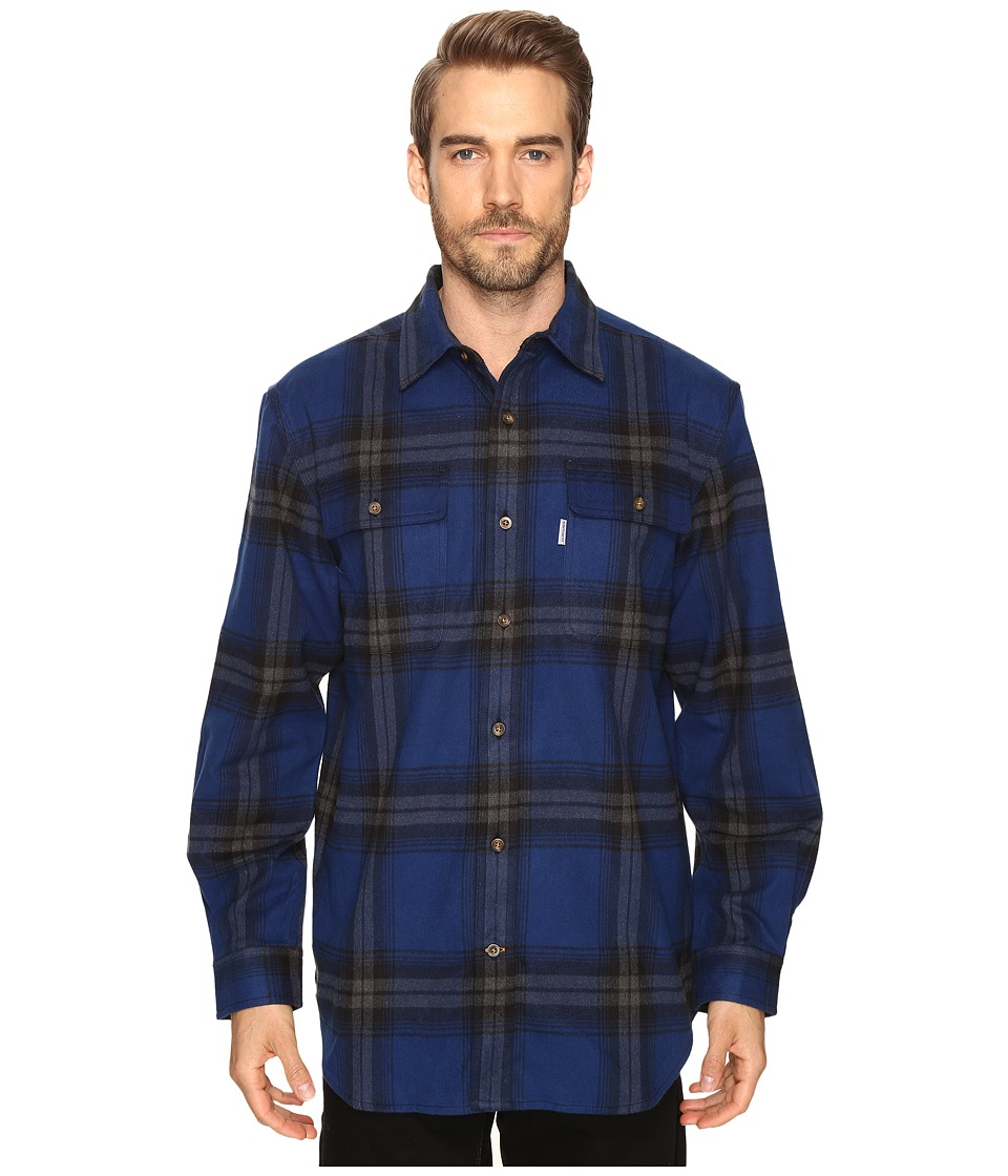 Carhartt - Hubbard Plaid Shirt (Dark Cobalt Blue) Men's Long Sleeve Button Up