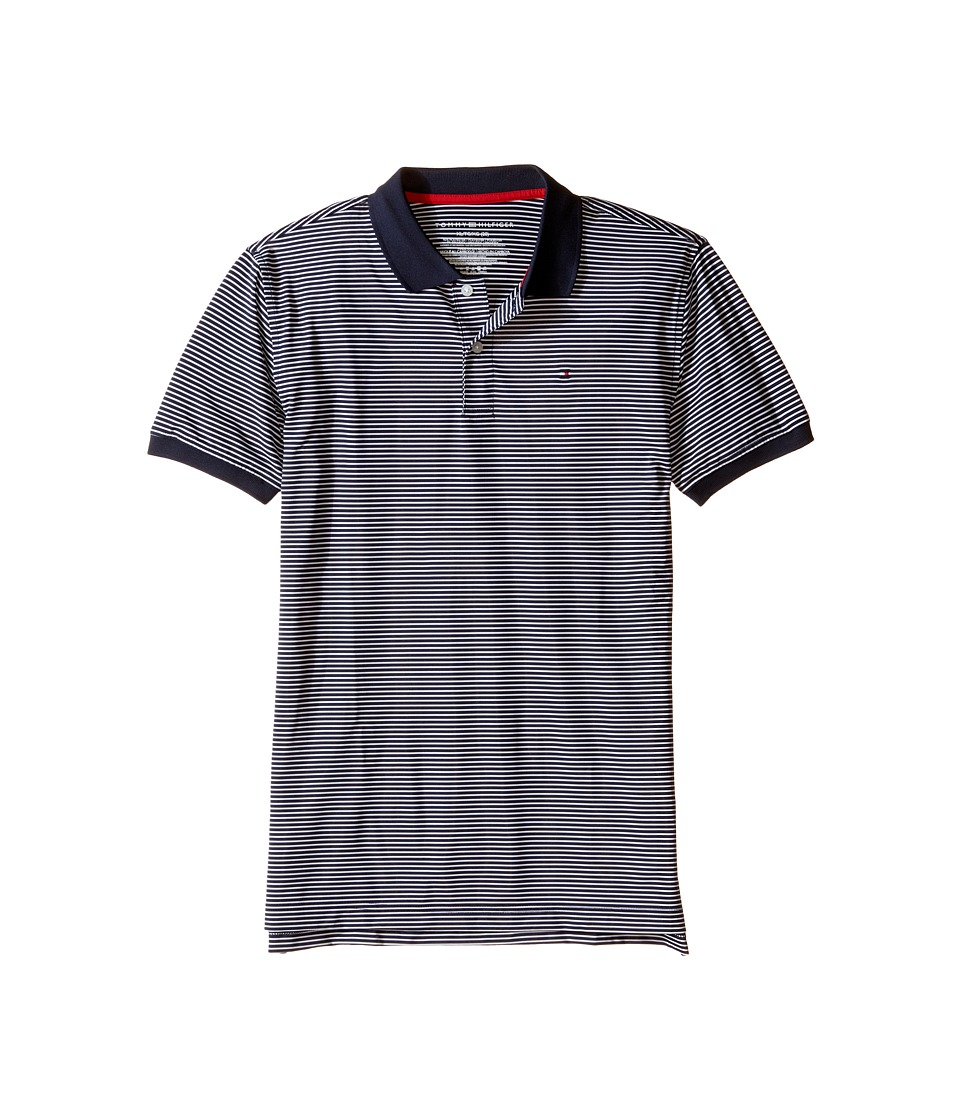 Tommy Hilfiger Kids - Feeder Stretch Synthetic Stripe Polo (Big Kids) (Swim Navy) Boy's Clothing