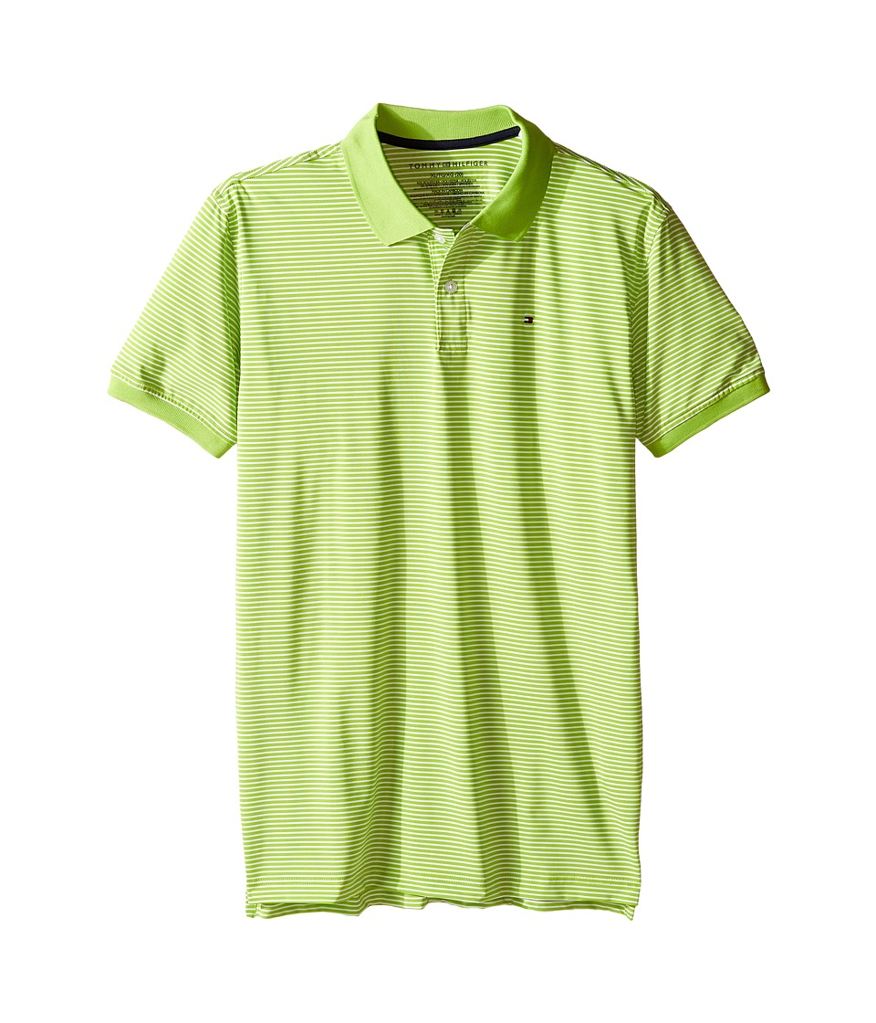 Tommy Hilfiger Kids - Feeder Stretch Synthetic Stripe Polo (Big Kids) (Lime Tonic) Boy's Clothing