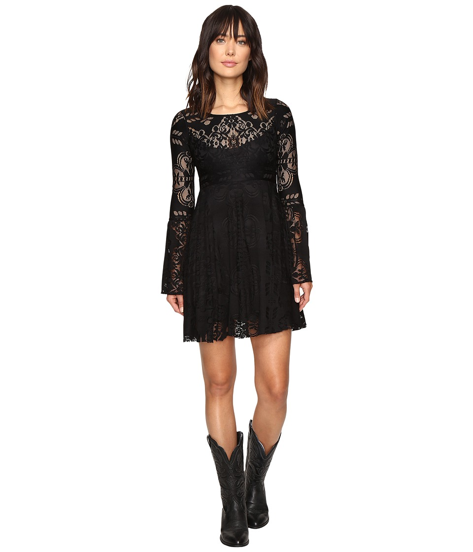 Stetson - Black Lace Knee Length Dress (Black) Women's Dress