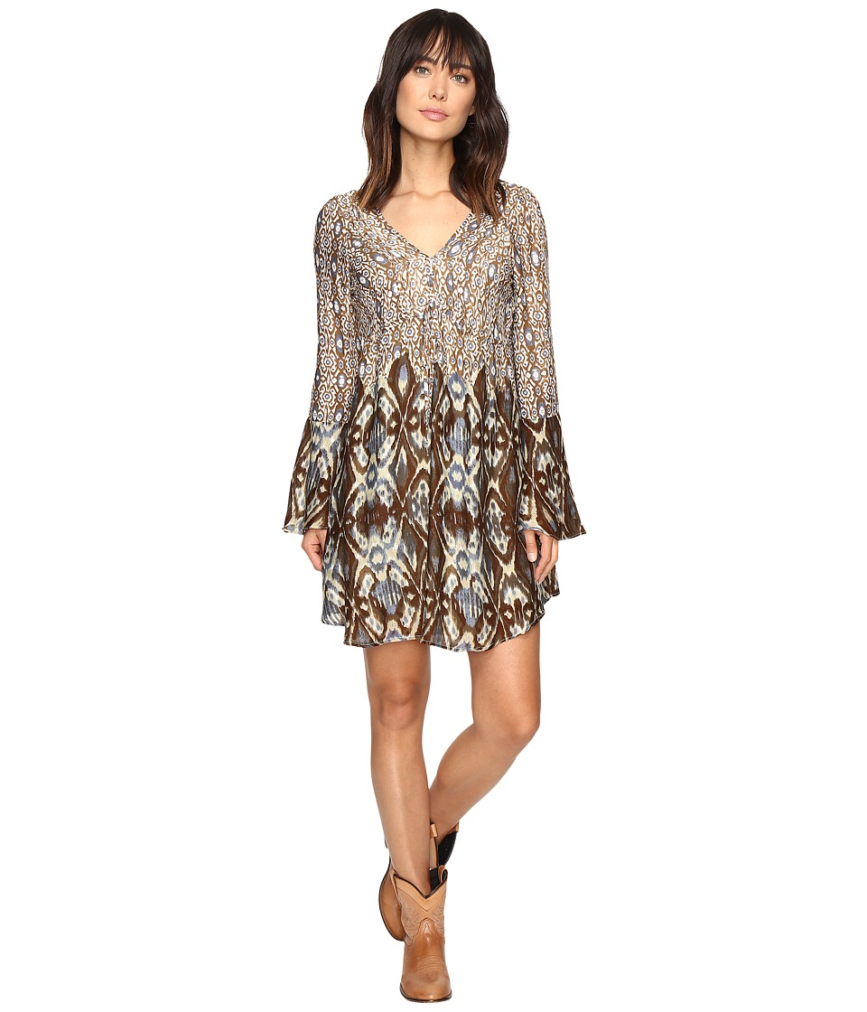 Stetson - Steel Aztec Border Print Dress (Brown) Women's Dress