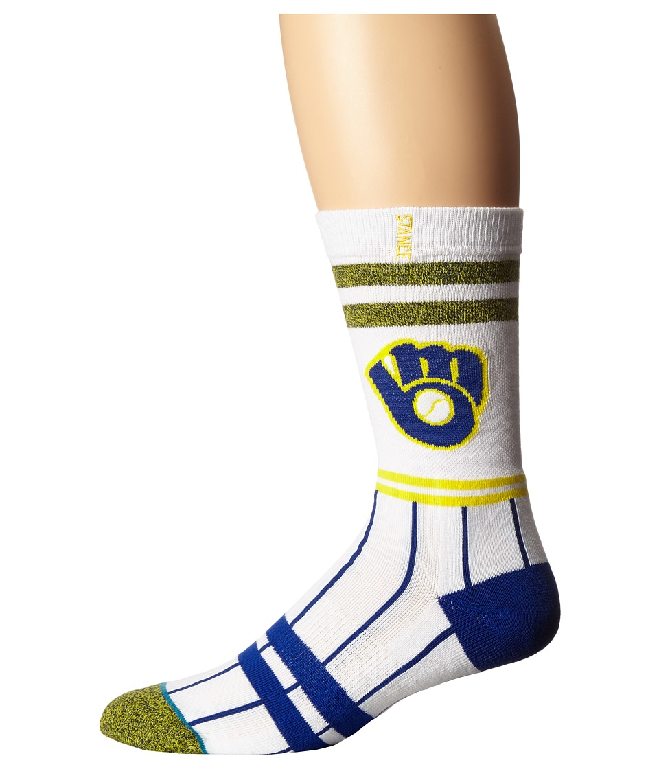 Stance - Brewers (White) Men's Crew Cut Socks Shoes