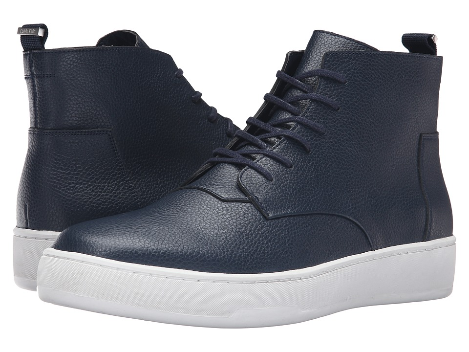 Calvin Klein Natel Dark Navy Tumbled Leather Mens Shoes