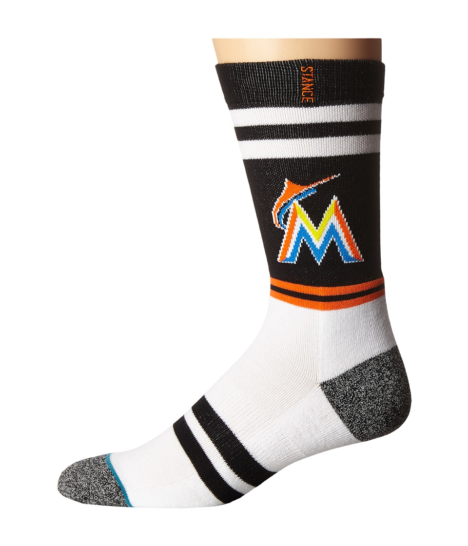 Stance - Marlins (Black) Men's Crew Cut Socks Shoes