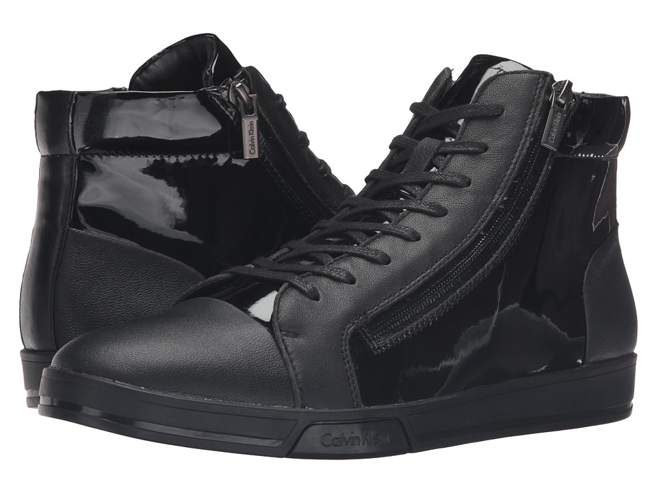 Calvin Klein Berke (Black Leather/Patent/Smooth) Men