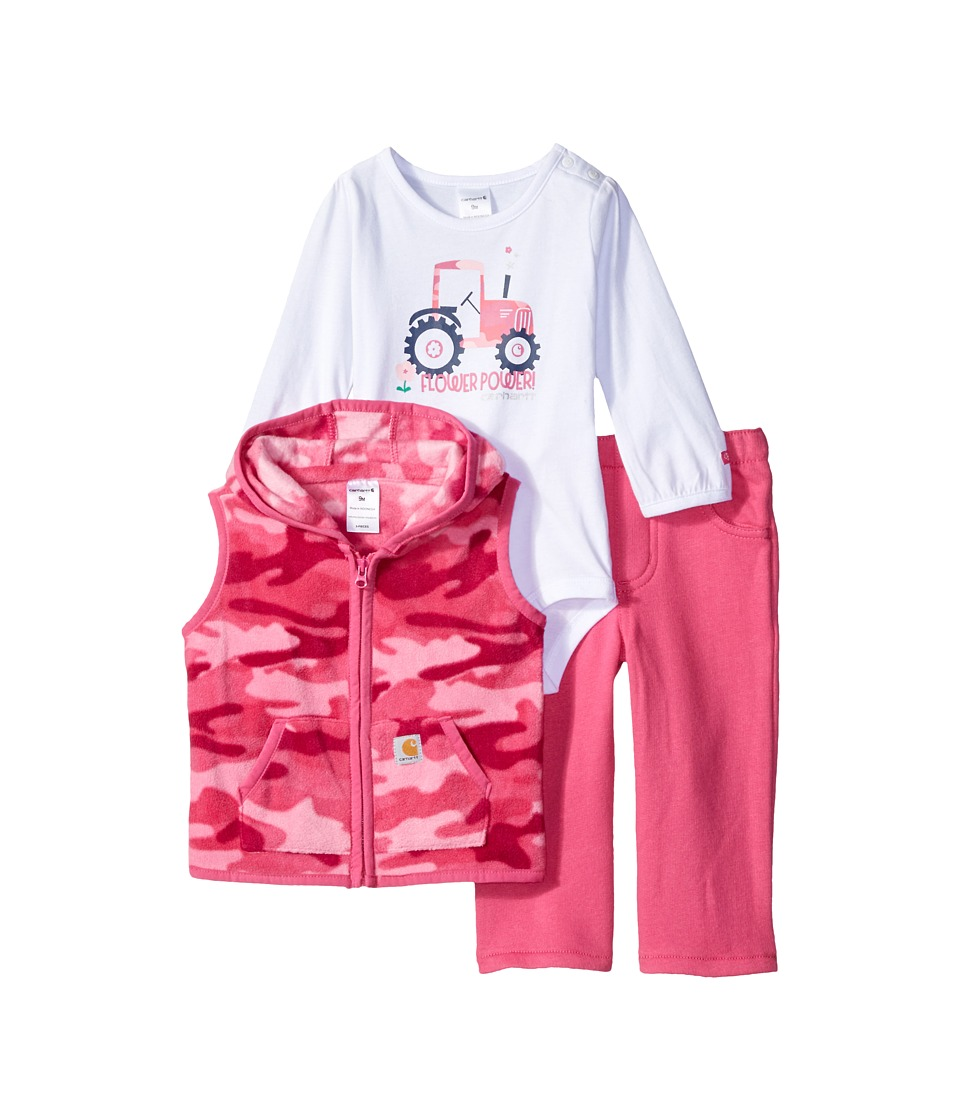 Carhartt Kids - Flower Power Three-Piece Pants Set (Infant) (Pink Camo) Girl's Active Sets