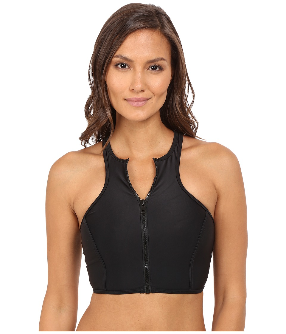 Body Glove - Vision Zip Front Crop Top (Black) Women's Swimwear