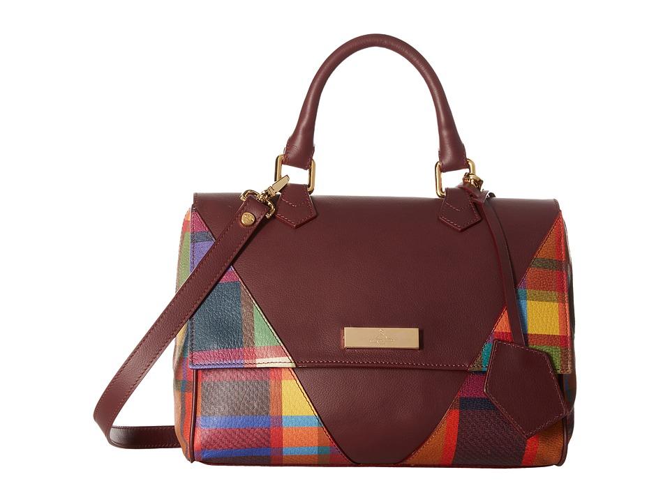 Vivienne Westwood - Amberley Tartan Bag (Bordeaux) Satchel Handbags