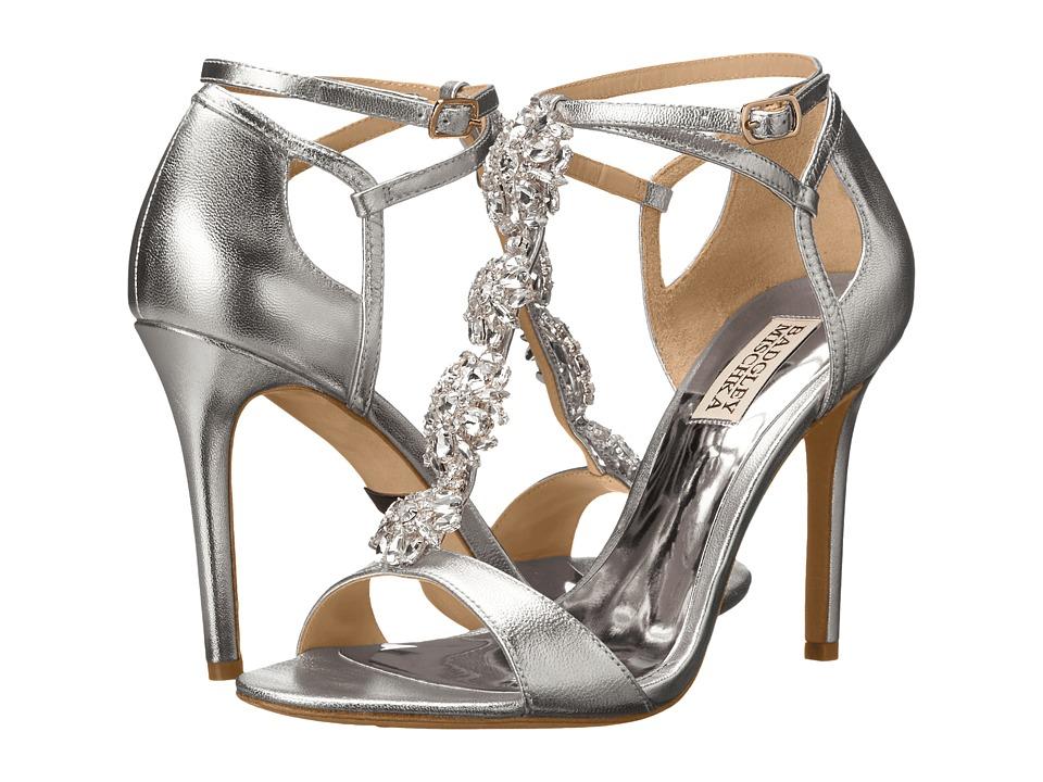 Badgley Mischka Leigh II (Silver Metallic Leather) High Heels