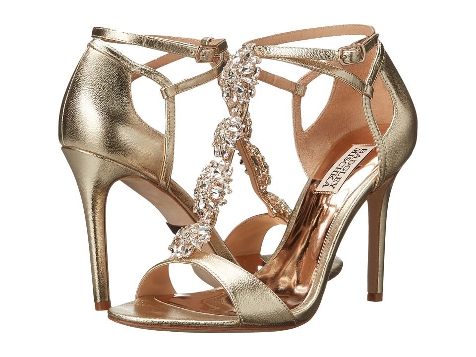 Badgley Mischka - Leigh II (Platino Metallic Leather) High Heels