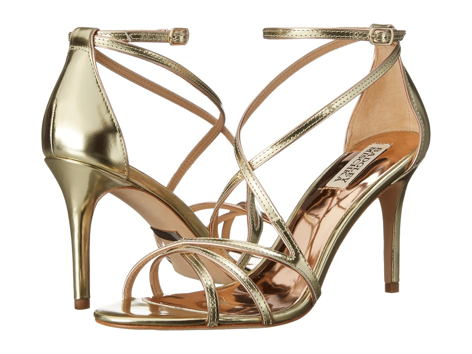 Badgley Mischka - Lillian (Platino Metallic Specchio Leather) High Heels