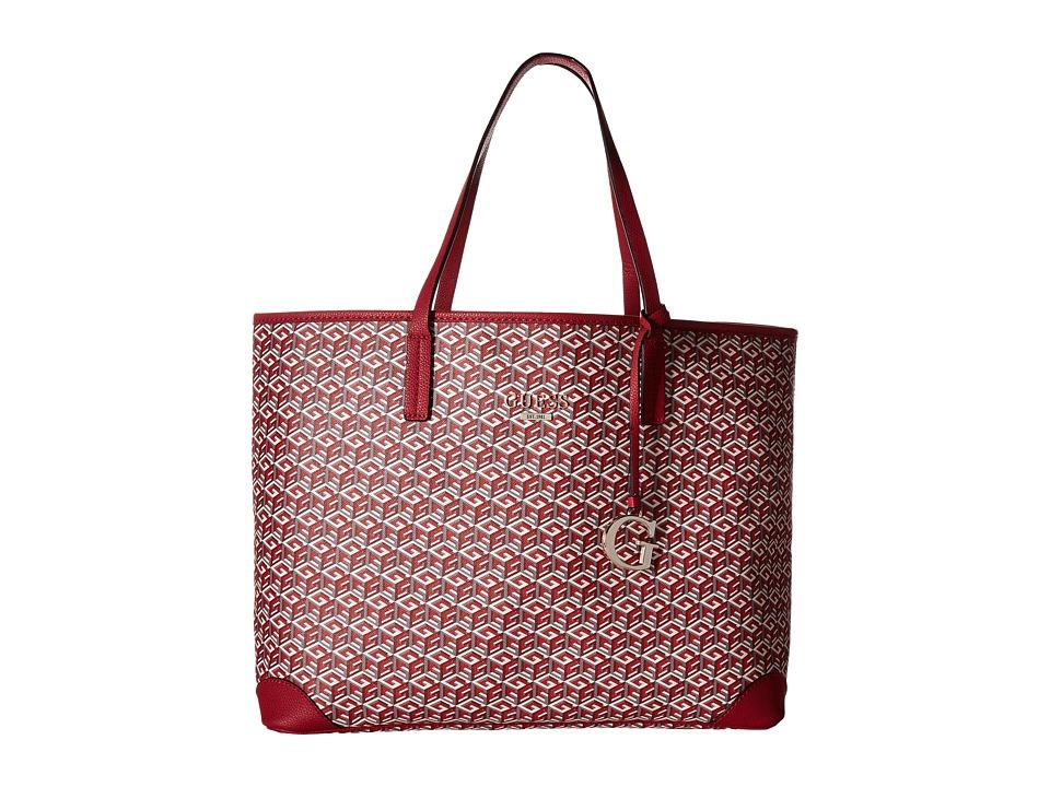 GUESS - G Cube G-Tote (Crimson) Tote Handbags