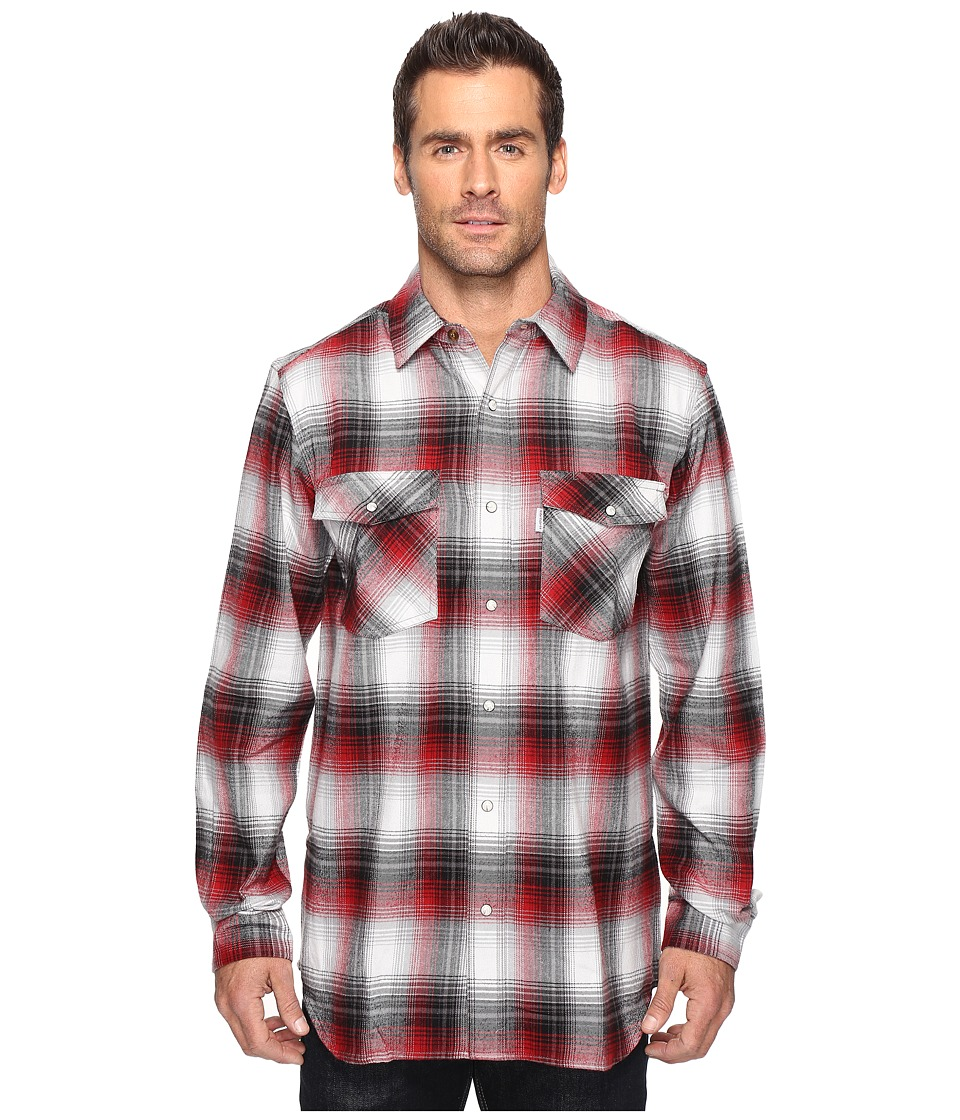 Carhartt - Trumball Snap Front Plaid Shirt (Dark Crimson) Men's Long Sleeve Button Up