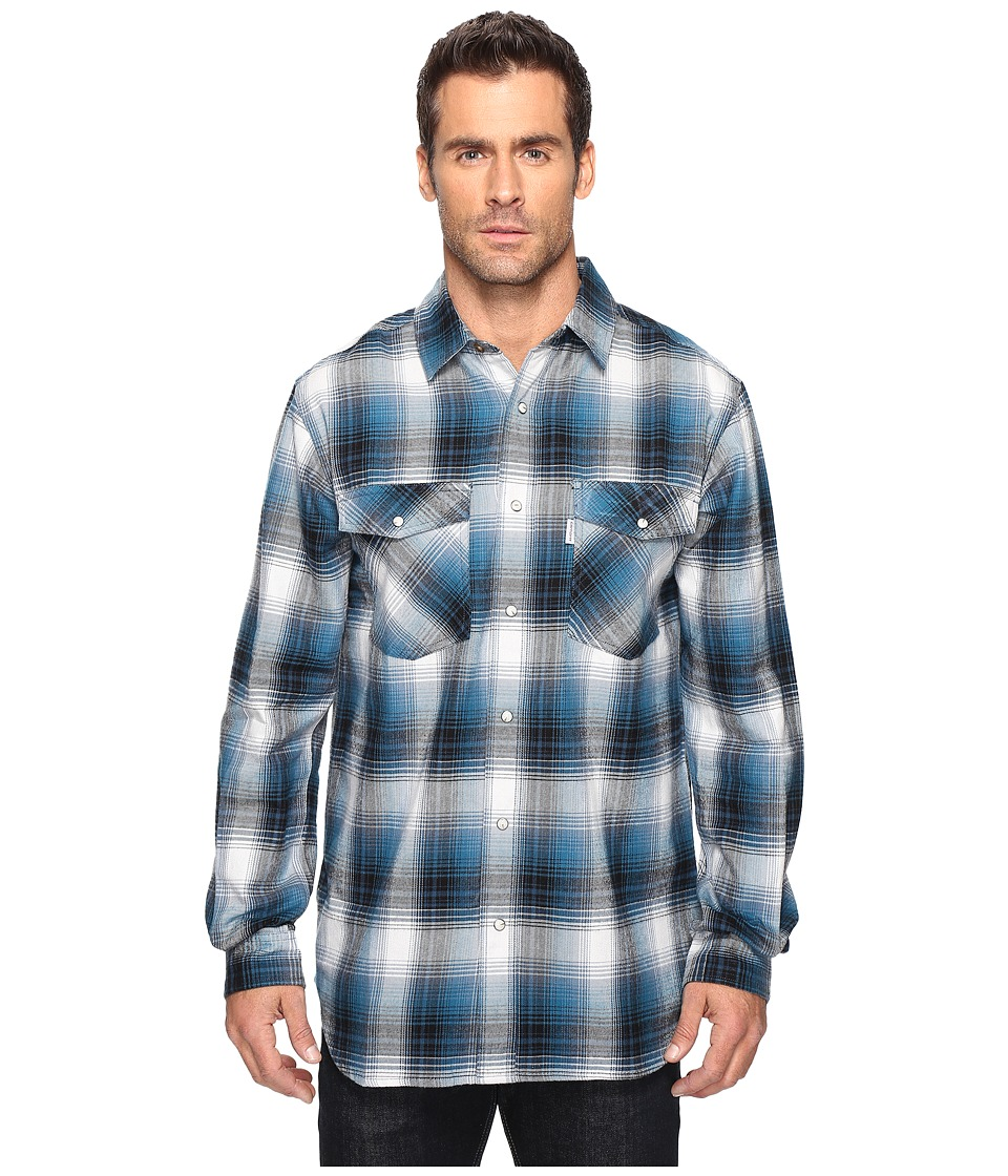 Carhartt - Trumball Snap Front Plaid Shirt (Stream Blue) Men's Long Sleeve Button Up