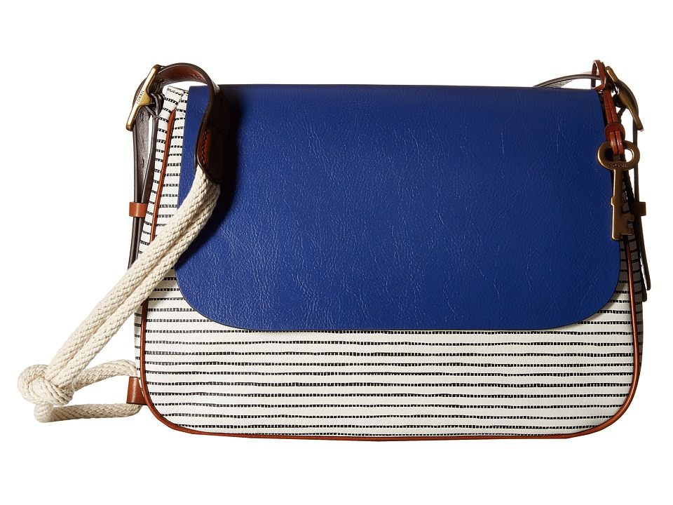 Fossil - Harper Large Crossbody (Blue Stripe) Cross Body Handbags