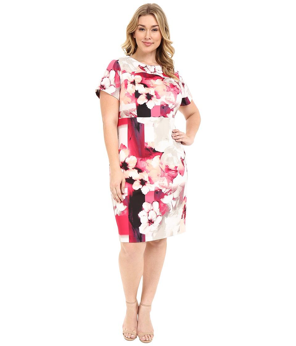 Calvin Klein Plus - Plus Size Print Sheath w/ Cap Sleeve (Hibiscus Multi) Women's Dress