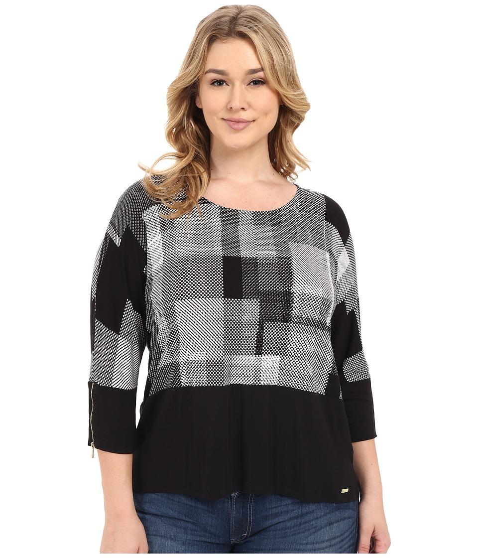 Calvin Klein Plus Plus Size 3/4 Dolman w/ Zip (Black/White Print) Women