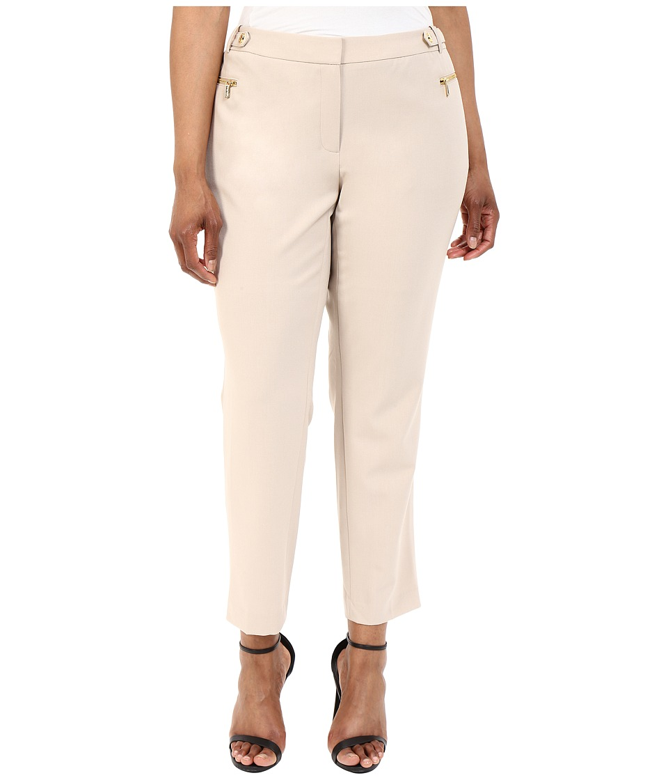 Calvin Klein Plus - Plus Size Straight Pants w/ Buckle Zip (Latte) Women's Casual Pants