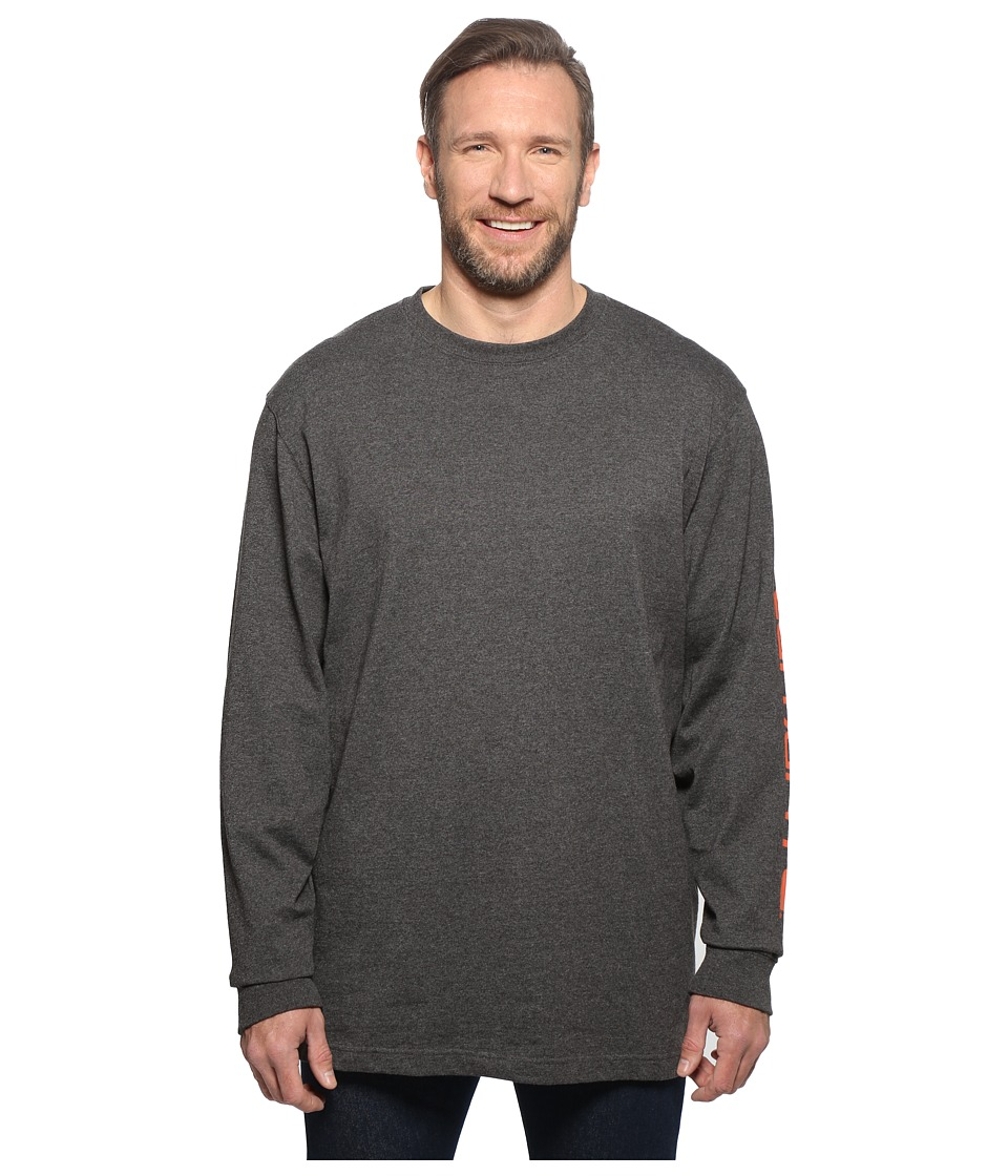 Carhartt - Big Tall Signature Sleeve Logo L/S Tee (Carbon Heather) Men's T Shirt