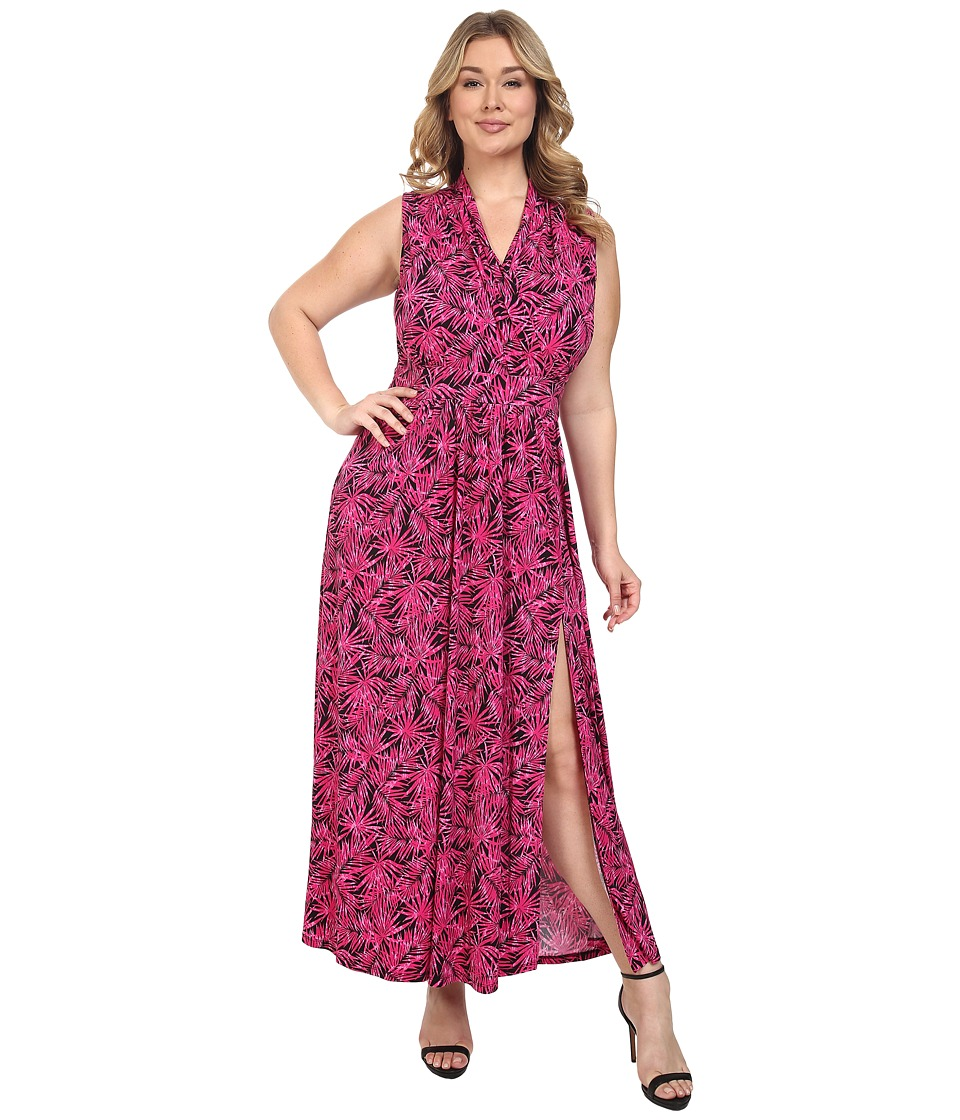 MICHAEL Michael Kors - Plus Size Small Pompano Slit Maxi Dress (Geranium/Black) Women's Dress plus size,  plus size fashion plus size appare