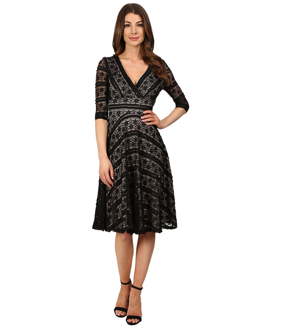 Sangria - 3/4 Sleeve Sequined Lace Fit Flare Dress (Black/Putty) Women's Dress