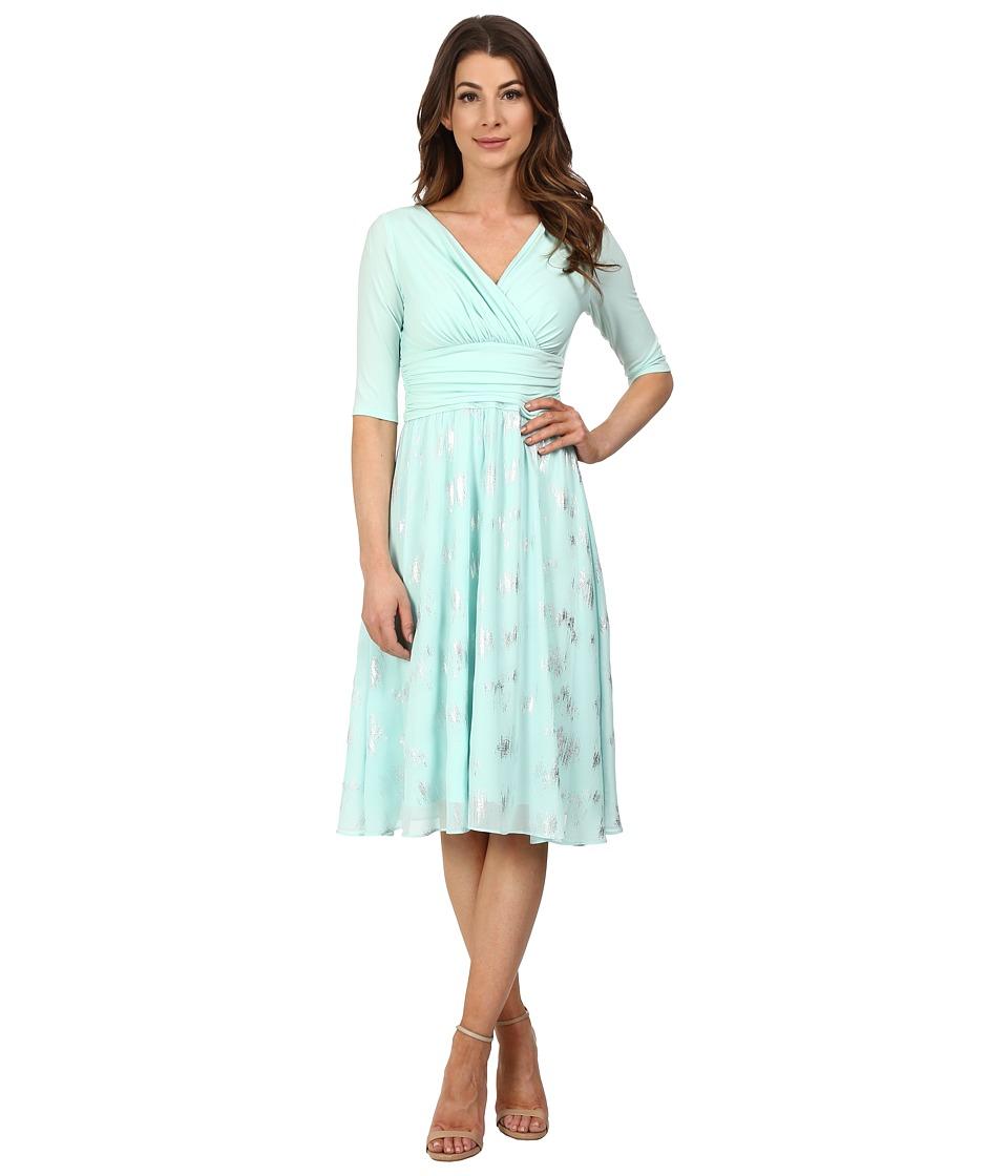 Sangria - 3/4 Sleeve Foil Print Fit Flare Dress (Honeydew) Women's Dress