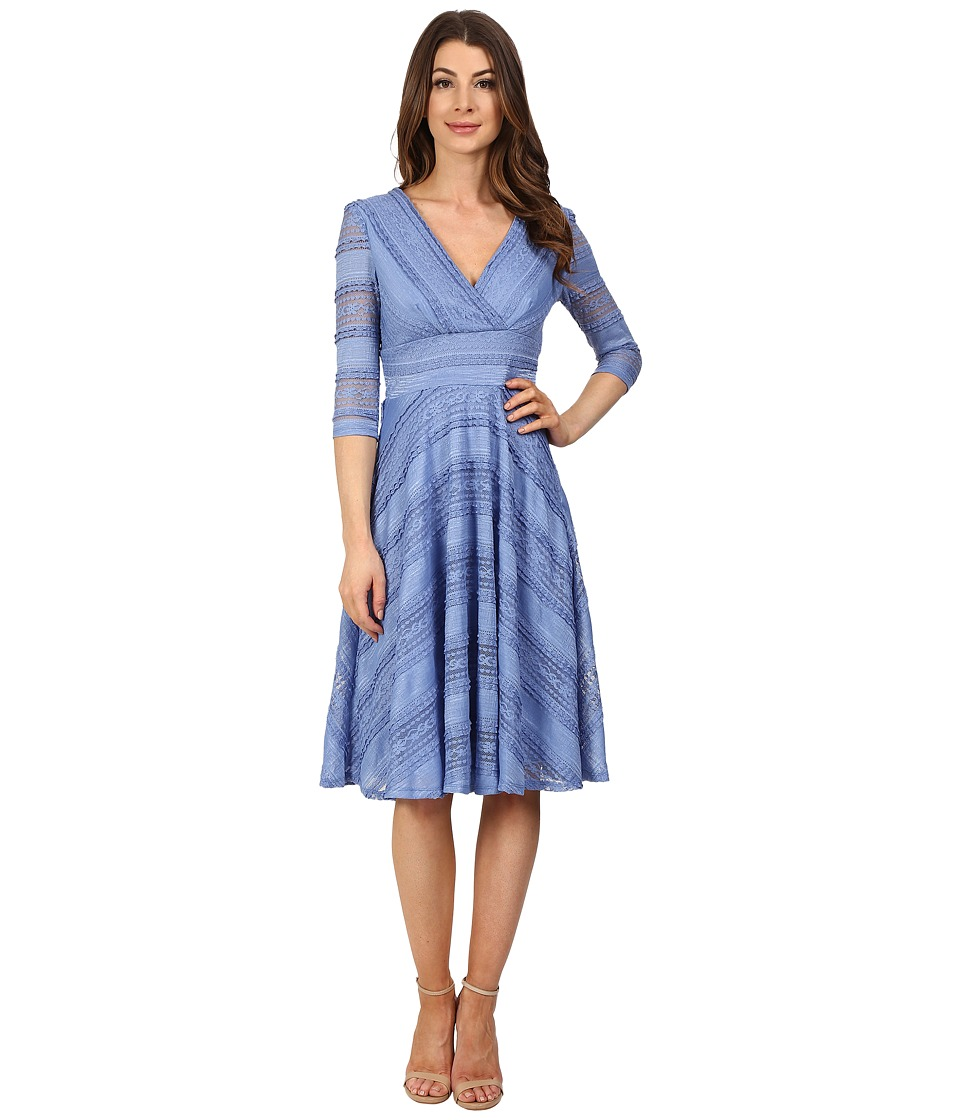 Sangria - 3/4 Sleeve V-Neck Wavy Lace Fit Flare Dress (Cornflower) Women's Dress