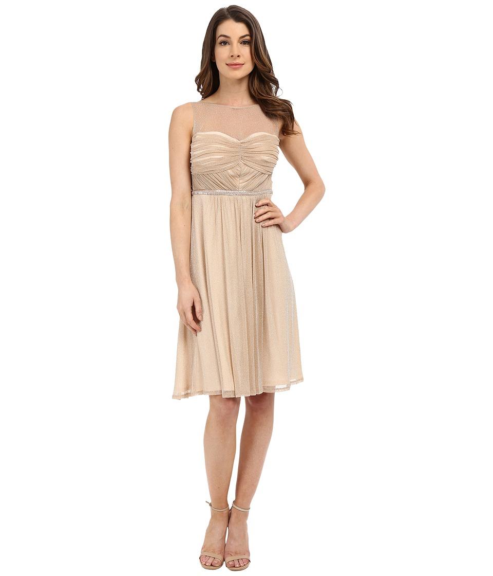 Sangria - Metallic Illusion Sweetheart Neck Fit Flare Dress (Ecru) Women's Dress