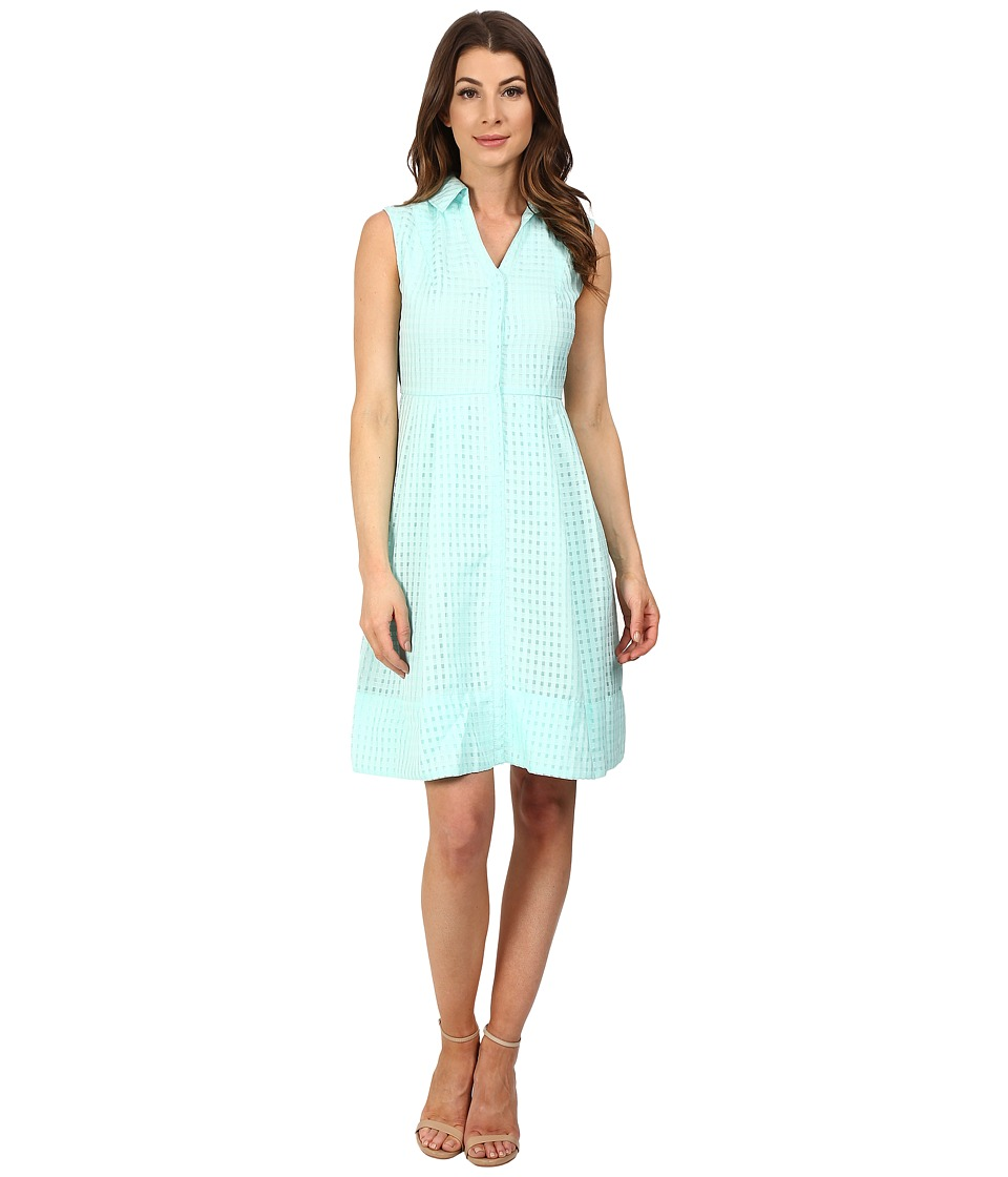 Sangria - Gingham Fit Flare Shirtdress (Soft Mint) Women's Dress