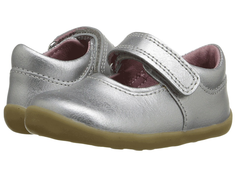 Bobux Kids - Step Up Shiny Dancer Mary Jane (Infant/Toddler) (Silver 1) Girls Shoes