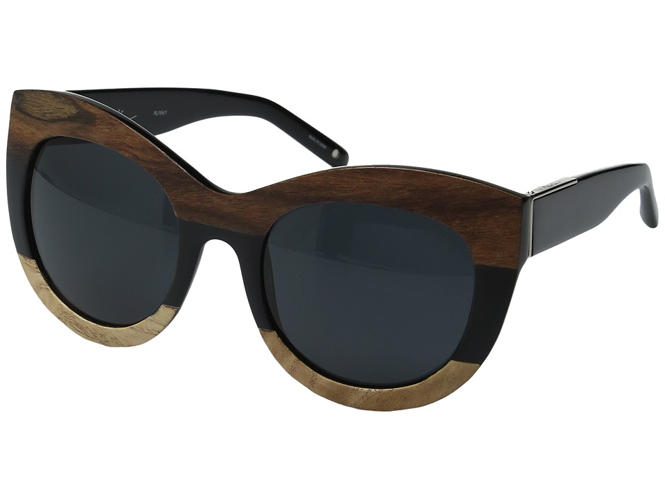 3.1 Phillip Lim - PL154C1SUN (Black/Wood/Silver/Bang Bang Black) Fashion Sunglasses