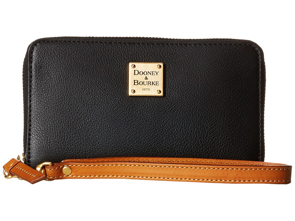 Dooney & Bourke - Raleigh Zip Around Phone Wristlet (Black/Natural Trim) Wristlet Handbags