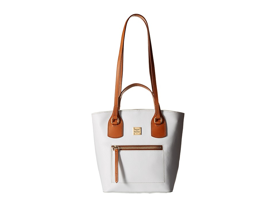 Dooney & Bourke - Raleigh Small Tara Shopper (White/Natural Trim) Handbags