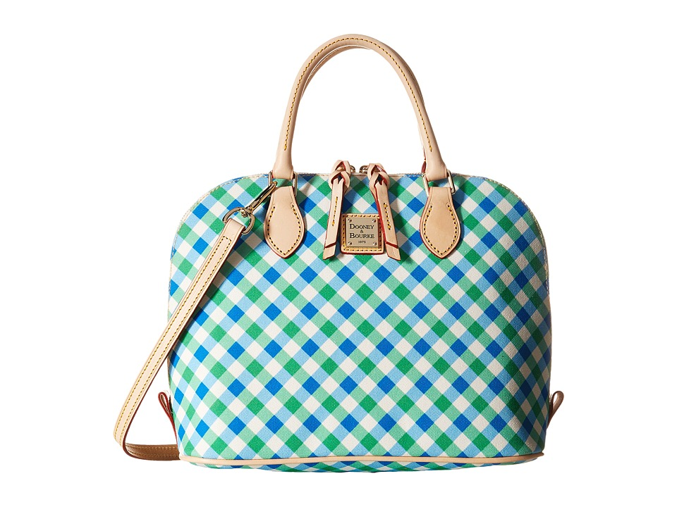 Dooney & Bourke - Elsie Zip Zip Satchel (Blue/Green/Natural Trim) Satchel Handbags