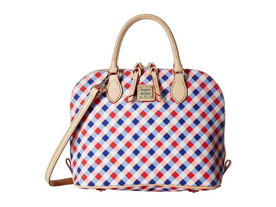 Dooney & Bourke - Elsie Zip Zip Satchel (Cherry/Purple/Natural Trim) Satchel Handbags