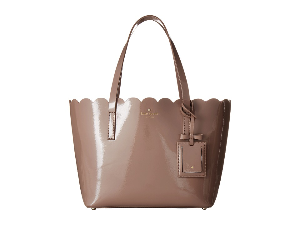 Kate Spade New York - Lily Avenue Patent Small Carrigan (Porcini/Rose Taupe) Handbags