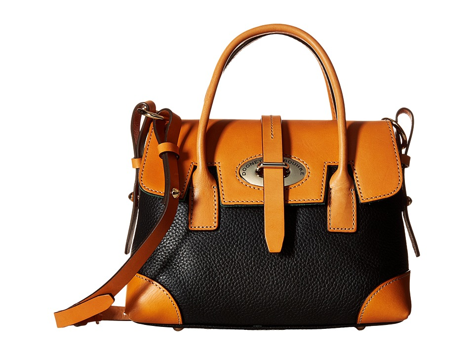 Dooney & Bourke - Verona Bionda Small Elisa (Black/Butterscotch Trim) Satchel Handbags