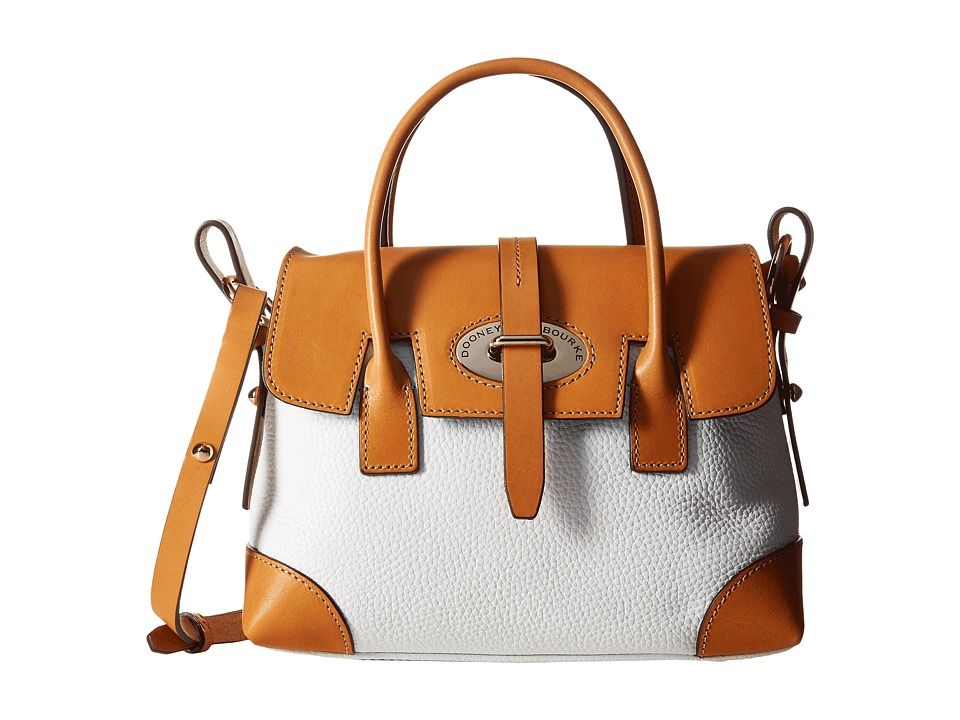 Dooney & Bourke - Verona Bionda Small Elisa (White/Butterscotch Trim) Satchel Handbags