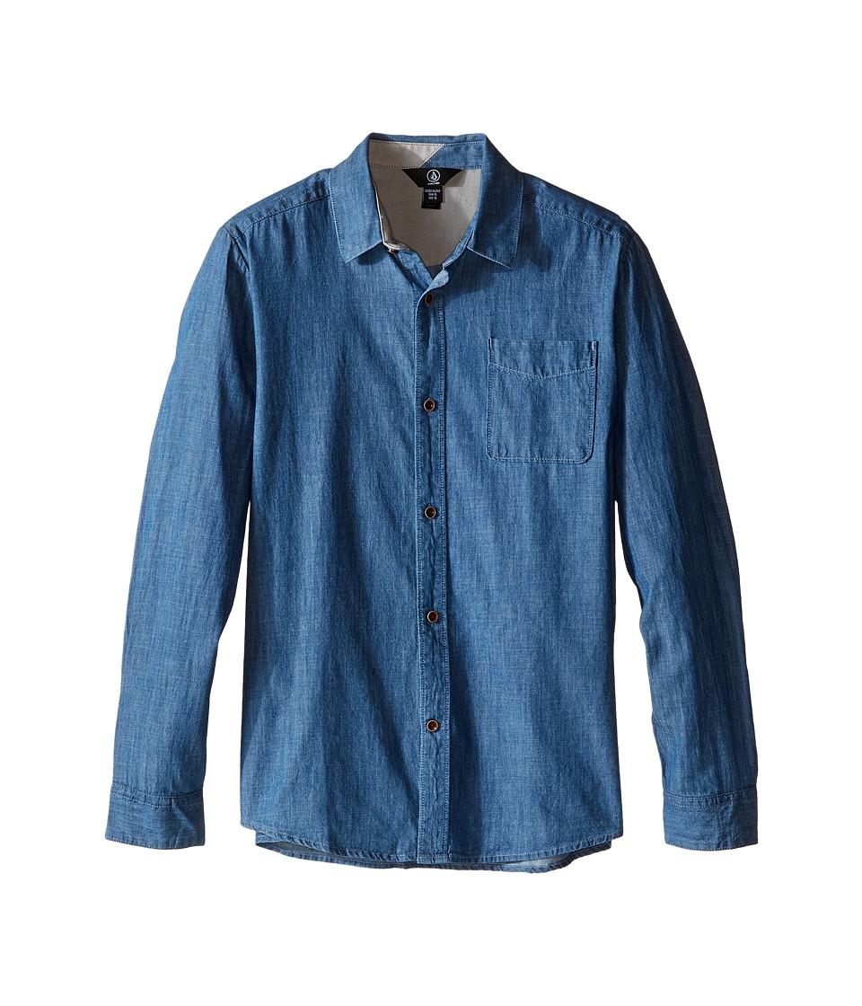Volcom Kids - Hudson Long Sleeve Top (Big Kids) (Stone Bleach) Boy's Long Sleeve Button Up