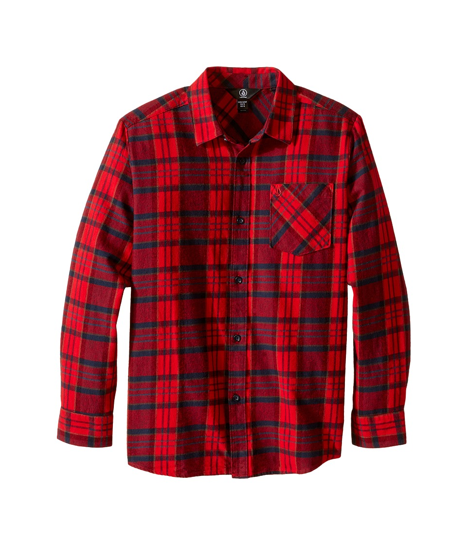 Volcom Kids - Gaines Long Sleeve Top (Big Kids) (Candy Apple) Boy's Long Sleeve Button Up