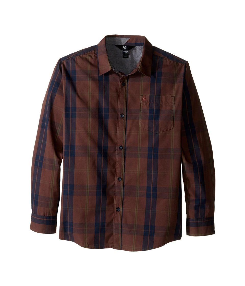 Volcom Kids - Bullock Long Sleeve Top (Big Kids) (Plum) Boy's Long Sleeve Button Up