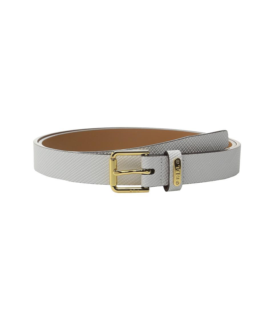 LAUREN Ralph Lauren - Crosshatch Leather 1 Endbar Belt (Bright White) Women's Belts