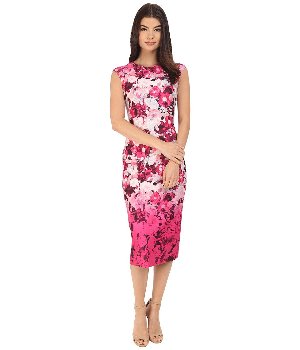 Vince Camuto - Printed Scuba Extended Cap Sleeve Bodycon Dress (Pink) Women's Dress