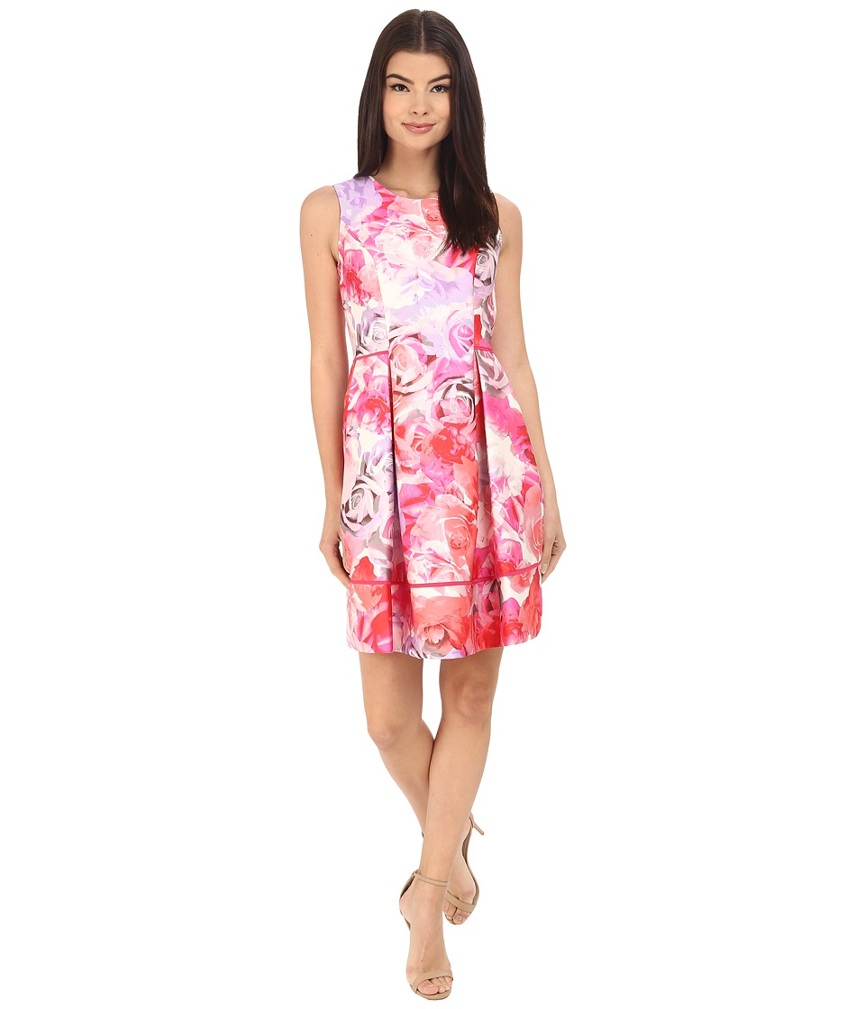 Vince Camuto - Printed Twill Sleeveless Fit and Flare Dress with Seam Detail on Skirt (Pink) Women's Dress
